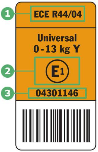Европейский стандарт безопасности ECE R 44 04/03 (ЕЭК ООН N 44), R129, как выглядит бирка на автокресле, обозначения на наклейке